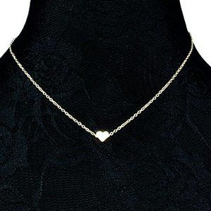 "Jewelry - Minimalist 1/4"" Silver Tiny Slider Heart Necklace"